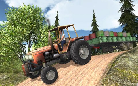Tractor Offroad Drive in Farm